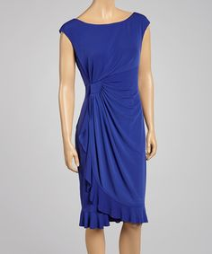 Another great find on #zulily! Royal Blue Ruched Ruffle-Trim Cap-Sleeve Dress by Connected Apparel #zulilyfinds
