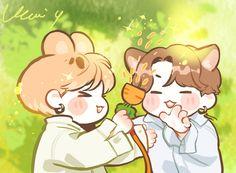 Bts Chibi, Jungkook Fanart, Jikook, Park Jimin Cute, Kpop Posters, Bts Aesthetic Pictures, Bts Drawings, Fan Art, Disney Memes