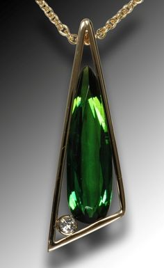 emerald green shoes   Green tourmaline and diamond pendant   Jewels - Necklaces.Pendants