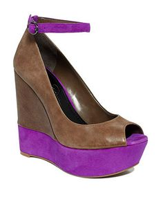 Jessica Simpson Wedge Sandals-- love the brown and purple together.