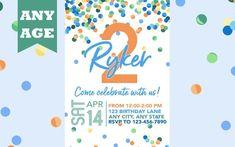 Second Birthday Invitation, Blue Confetti, Boy 2nd Birthday Invite, Confetti Birthday, Any Age, Printable, Boy Birthday Invitation, Printed