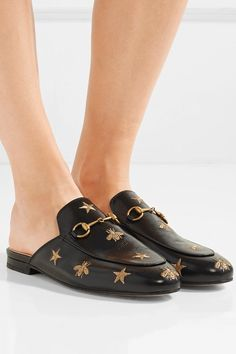 Gucci | Princetown horsebit-detailed embroidered leather slippers | NET-A-PORTER.COM