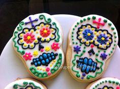 Day of the Dead Skull cookies 12cookies por SugarySweetCookies