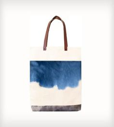 Leather, Waxed & Hand-Dyed Canvas Pocket Tote Bag