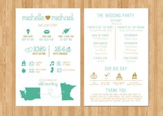 ***HIGH RESOLUTION PRINTABLE PDF****  5.5x8.5 Custom Designed Infographic Wedding Programs  Perfect for Wedding Ceremony, Welcome Bag Insert, Reception Cards and more!  Custom Design Includes: FREE color changes Adding your information  Printing options available here: https://www.etsy.com/listing/238986550/25-printed-infographic-wedding-program?ref=shop_home_active_4     *******TO PURCHASE THIS ITEM****** STEP 1: Add item to your cart  STEP 2: In the Notes to Seller section, please specify…
