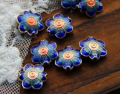 Top Qiality blue flower wiry enamel craft gilding jewelry beads, gilding flower beads, good for DIY jewelry,15mm ×15mm ×4mm by ForDIYsupplies on Etsy