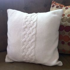 knit pillows | Cable Knit Pillow | Crochet, knit, & Embroidery