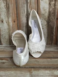 Bridal Ballet Flat Shoe Open toe satin and lace covered flat with hand  beaded lace and pearl back d68a6084ff5d