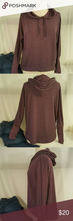 """Hooded hi-low knit loungewear top Soft and cozy, merlot color sweatshirt/loungewear  top with drawstring hood. Great for after exercise, lounging around or toss on when your heading out. Thinner than a traditional sweatshirt but not so thin that it can't keep you warm.  65%poly 35%rayon. Machine wash cold, tumble dry low. Bust 24""""   Waist 21""""  Length 27"""" in back and 20"""" in front. Not fitted but it does get slightly smaller as it goes down. Mossimo Supply Co Tops Sweatshirts & Hoodies"""