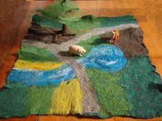 Wet felted forest play mat : Fiona Duthie: Felting