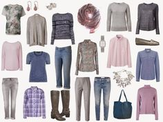 grey clothes here get  more mileage  combined with denim, the softest shades of pink and a kind of lavender-ish rose.