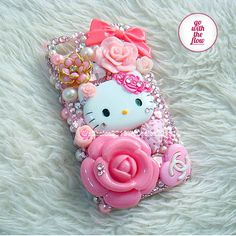 New Style Cute PINK Hello Kitty   Flowers  Rhinestone  DIY Deco Kit Decoden Kit Cabochon Deco Kit For DIY Cell Phone iPhone 4G 4S 5 Case. $11.00, via Etsy.