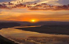 natureza, do sol, brilho, nascer do sol, montanhas, rio, reflexão, nuvens, céu, paisagem