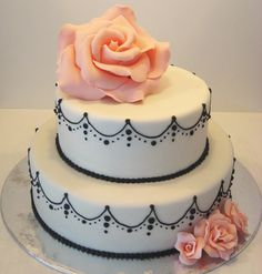 small two tier wedding cake