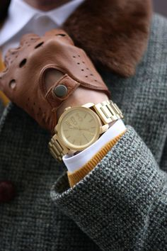 Gold watch by Diesel and Nordstrom driving gloves