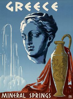 Greece Mineral Springs. Vintage travel poster showing the head of a Greek statue, an urn and a mineral spring. Athens, Greece. 1953.