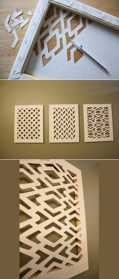 Cut canvas and then paint it. You could also used painted cut canvas or something similar in weight, even wood veneer to use on glass doors that need decoration and some camouflage of contents. Fun Diy Crafts, Home Crafts, Arts And Crafts, Paper Crafts, Diy Paper, Paper Wall Art, Stick Crafts, Beach Crafts, Wooden Crafts