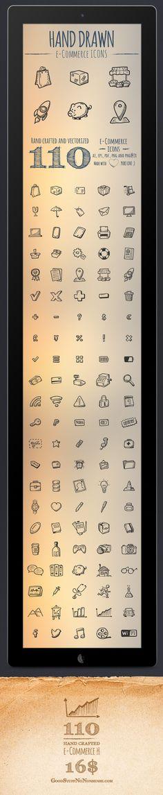 110 e- Commerce Icons by Agata Kuczminska