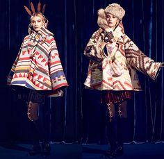 Lindsey Thornburg 2014-2015 Fall Autumn Winter Womens Lookbook Presentation - New York Fashion Show - Cape Cloak Poncho Ethnic Folk American Indian Western Ornamental Art Decorative Print Stripes Leggings Stockings Tights Boots Skirt Frock Hat Net Crown