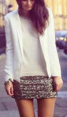 Sequin Mini + White Blazer