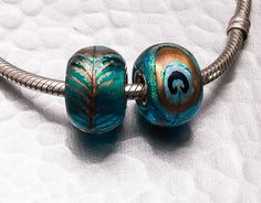 Big Hole Bead Lampwork Glass Charm  Peacock by BeccaGraceStudio, $32.00