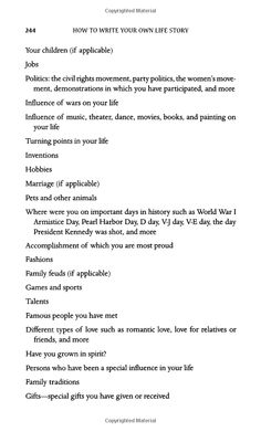 .how to write your life story