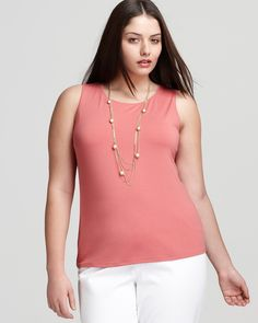 Eileen Fisher Plus Viscose Jersey Jewel Neck Shell | Bloomingdale's