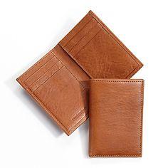 Tan Vertical Bifold Wallet | Italian Rustic Saddle Leather