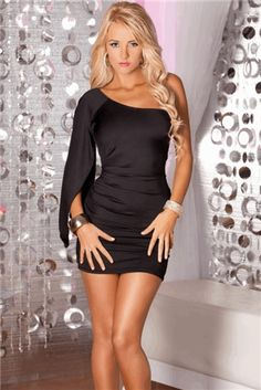 """ink Lipstick High Drama Mini Dress     The world is your stage in this shiny """"butter micro"""" asymmetrical drape-sleeve mini dres"""