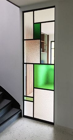 Contemporary bathrooms 470626229814417714 - Unique Home Interior window stained glass, colored & clear © own project Source by AYAinterest Partition Design, Glass Partition, Partition Screen, Home Interior Design, Interior Decorating, Modern Stained Glass, Modern Glass, Verre Design, Interior Windows