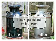 Painted Milk Cans | ... the following email about this old milk can I faux painted last year
