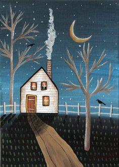 Cool Night 5x7 inch Canvas Panel ORIG Landscape PAINTING PRIM FOLK ART Karla G.. new painting for sale, just added to store... #FolkArtAbstractPrimitiveLandscape