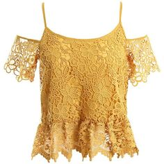 Sans Souci Lace cold shoulder peplum top ($34) ❤ liked on Polyvore featuring tops, mustard, scalloped top, cut out shoulder tops, floral peplum top, lacy tops and brown lace top
