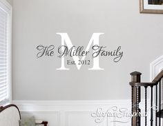 Family Name Decal - Personalized Family Wall Decal Name Monogram - Vinyl Wall Decal Family Wall Decal Wedding Gift by SurfaceInspired on Etsy https://www.etsy.com/listing/207952385/family-name-decal-personalized-family