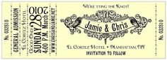 concert ticket place cards