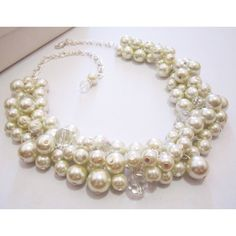 Pearl Bubble Necklace, Chunky Pearl Cluster Necklace, Pearl Bib... (95 ILS) ❤ liked on Polyvore featuring jewelry, necklaces, ivory jewelry, pearl jewellery, bubble jewelry, chunky necklaces and bib necklaces