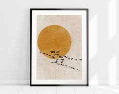 Sun Silhouette Set of 3 Prints, Scandinavian Design Print Set, Minimalist Wall Art Set, Abstract Art Print Set, Burnt Orange Home Decor Nature Prints, Bird Prints, Wall Art Prints, Fine Art Prints, Sun Silhouette, Skandinavisch Modern, Orange Wall Art, Nordic Art, Minimalist Art