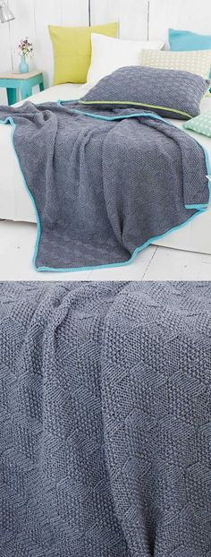 Free Knitting Pattern for a Textured Blanket & Pillow