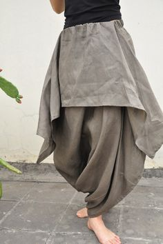 cotton linen wide leg skirt pants