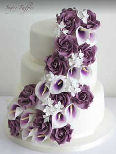 elegant calla lily wedding cakes with purple flowers - Purple Cakes, Purple Wedding Cakes, Amazing Wedding Cakes, Elegant Wedding Cakes, Wedding Cakes With Flowers, Wedding Cake Designs, Wedding Cake Toppers, Nontraditional Wedding, Flower Cakes