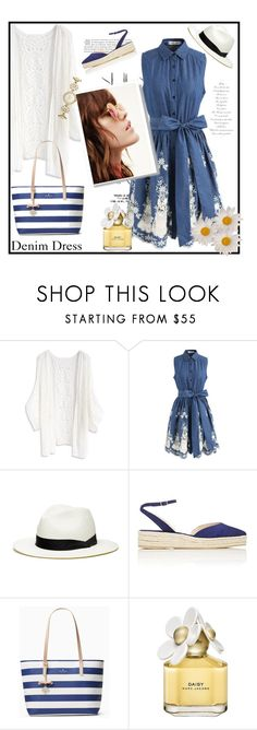 """""""Sleeveless Denim Dress"""" by ames-ym ❤ liked on Polyvore featuring Rika, Chicwish, Paul Andrew, Kate Spade, Marc Jacobs, DenimDress and womensFashion"""