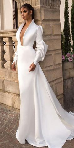 Ethereal Elihav Sasson Wedding Dresses 2018 elihav sasson simple wedding dresses 2018 sheath deep v neckline puff sleeves simple romantic Full gallery: weddingdressesgui... #bridalgown #weddingdresses2018 #wedding #bride #wedding #weddingideas #weddings #weddingdresses #weddingdress #bridaldress #bridaldresses