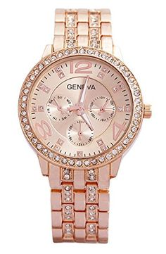 Geneva Rose Gold Plated Classic Round CZ Ladies Watch Women Watches Product Features Diameter of watch face is 1.125″. Band is 0.75″ in width Weighs approximately 82.5 grams Stainless Steel Back Cubic Zirconia Rose Gold Plated watch Women Watches Product Description This striking ladies watch has a loo .. http://www.bestwomenwatches.com/geneva-rose-gold-plated-classic-round-cz-ladies-watch-4/