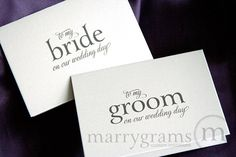 Wedding Card to Your Bride or Groom on Your (Our) Wedding Day - Groom Gift, Bridal Card from Husband to Wife