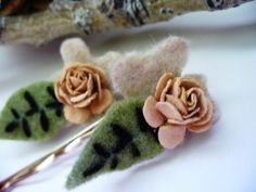 Rustic Fall Bobby Pins Woodland Wedding by kzannoart on Etsy, $7.00