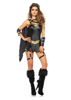 7e5dcbef33 This Dark Warrior Princess Adult Womens Costume includes a wet look garter  romper with panel skirt and attached dual strap cape, a wrist cuff, ...
