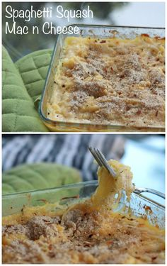 This spaghetti squash mac n cheese is a healthy twist on your favorite comfort food! It's low calorie but still creamy and cheesy!