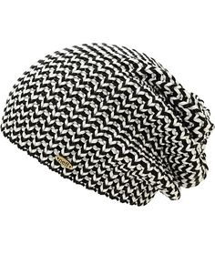 A loose black and white woven design provides a unique eye-catching look with a soft acrylic construction for comfort.