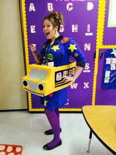 """Take Chances, make mistakes, get messy!""  - Ms. Frizzle Homemade Magic School Bus, Ms. Frizzle Costume!"