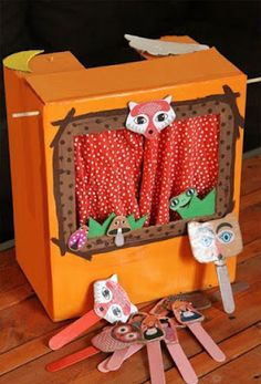Puppets recycled paper mini theater -Small puppets made of recycled paper for . - Puppets recycled paper mini theater -Small puppets made of recycled paper for mini theater: - Toddler Crafts, Kids Crafts, Diy And Crafts, Paper Crafts, Recycled Crafts For Kids, Cardboard Box Crafts, Diy Paper, Toddler Activities, Preschool Activities